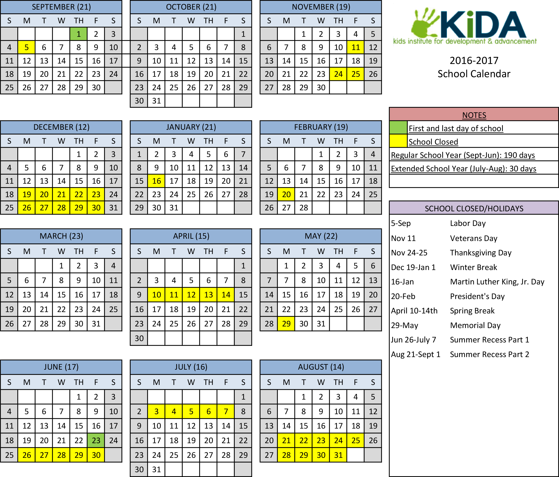 School Calendar 2016 2017